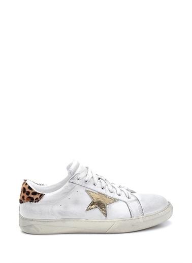 Derimod Kadın Deri Yıldız Detaylı Sneaker Beyaz
